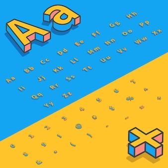 3d izometryczne czcionki stylizowane litery