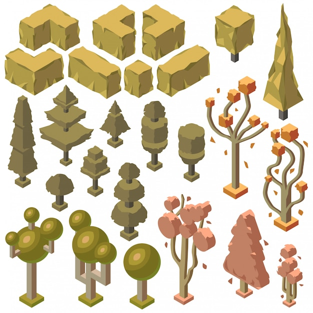3d izometryczne rośliny jesienią, drzewa. obiekty przyrodnicze w upadku, środowisko. ekologia, park naturalny
