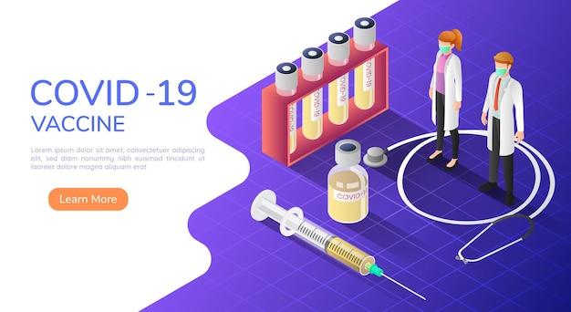 3d izometryczni lekarze noszący maskę medyczną ze szczepionką i strzykawką covid19 lub koronawirusem