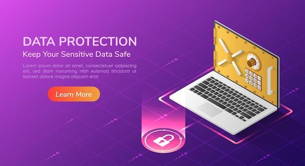 3d izometryczny baner internetowy na laptopa z pełnym systemem bezpieczeństwa i drzwiami skarbca na ekranie. strona docelowa koncepcji bezpieczeństwa danych osobowych.