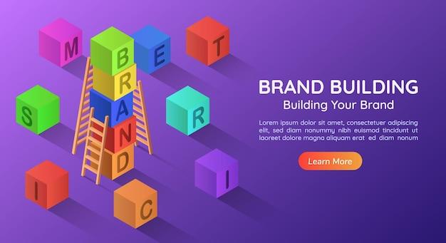 3d izometryczny blok alfabetyczny baner internetowy łączy słowo marka z rzędu. strona docelowa koncepcji budowania marki.