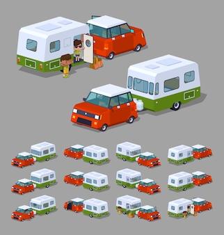 3d izometryczny czerwony hatchback z zielono-białym kamperem rv