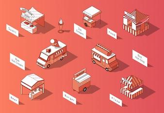 3d izometryczny food courts, trucks - marketplace