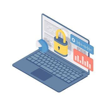 3d izometryczny ilustracja nowoczesnego laptopa