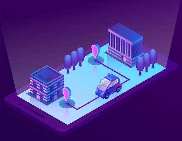 3d izometryczny inteligentny samochód technologia dla smartphone, aplikacja dla urządzenia. nawigacja bezprzewodowa