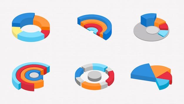 3d izometryczny kolekcji kolorowych wykresów kołowych.