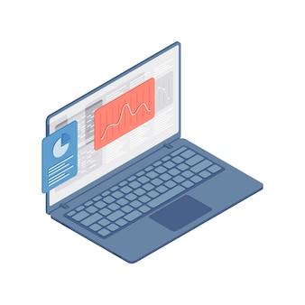 3d izometryczny kolorowy ilustracja otwartego laptopa