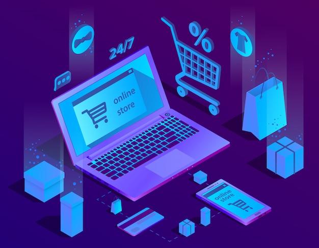 3d izometryczny koncepcja e-commerce, sklep internetowy