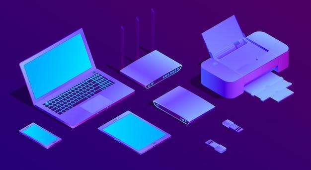 3d izometryczny laptop w ultrafiolecie, drukarka