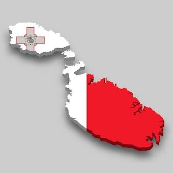 3d izometryczny mapa malty z flagą narodową.