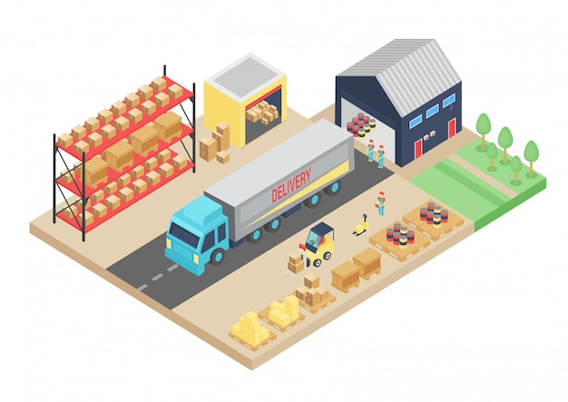 3d izometryczny proces magazynu. ilustracja do przechowywania ładunku. magazyn logistyczny wnętrze, budynek, firma dostarczająca tansportation magazynu.