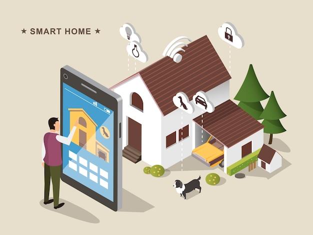 3d izometryczny projekt płaski koncepcja inteligentnego domu / iot