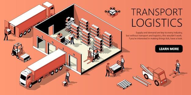 3d izometryczny szablon strony - logistyka transportu