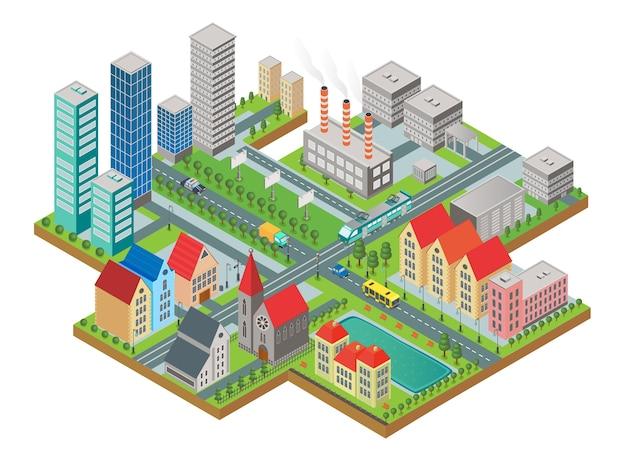 3d izometryczny trójwymiarowy nowoczesny widok na miasto. miasto z drogami, drapaczami chmur, budynkami cywilnymi i transportem