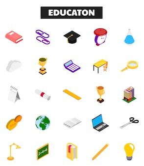 3d izometryczny zestaw ikon edukacji.