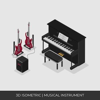 3d izometryczny zestaw instrumentów muzycznych