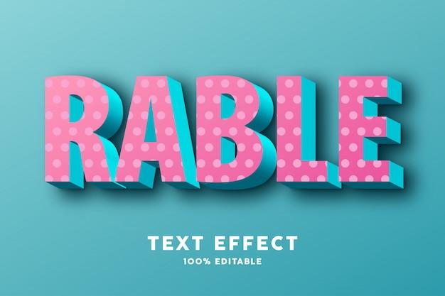 3d jasny różowy i błękitny z kropkami realistyczny efekt tekstowy
