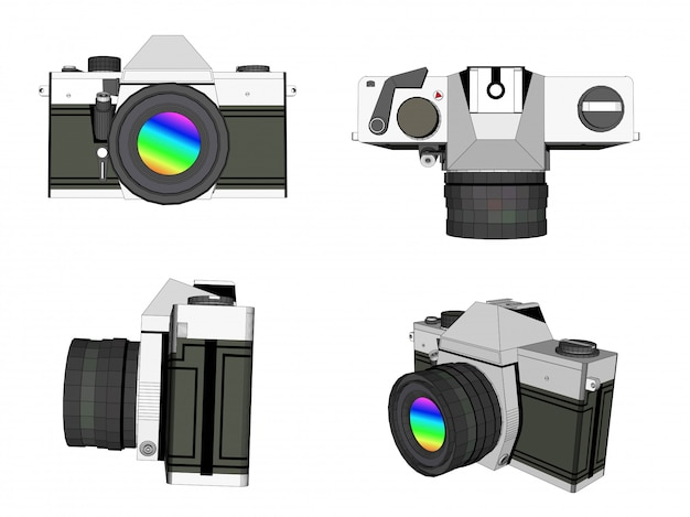 3d kamery fotografii wektor
