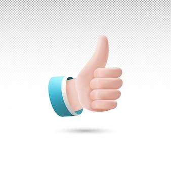 3d kciuk w górę stylu signcartoon na białym przezroczystym tle darmowych wektorów