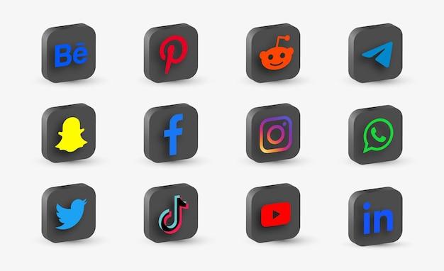 3d kolekcja mediów społecznościowych z logo sieci