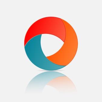 3d koło logo, koło infographic element projektu z efektem gradientu i cienia papieru 3 opcje lub kroki.