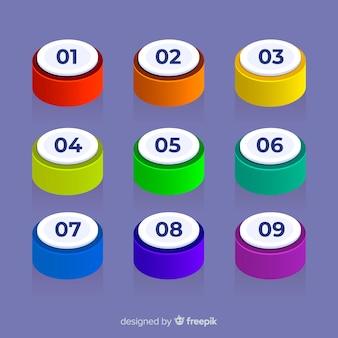 3d kolorowa pocisk punkt kolekcja