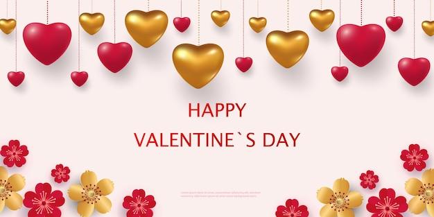 3d kolorowe czerwone i złote romantyczne serca. szczęśliwych walentynek