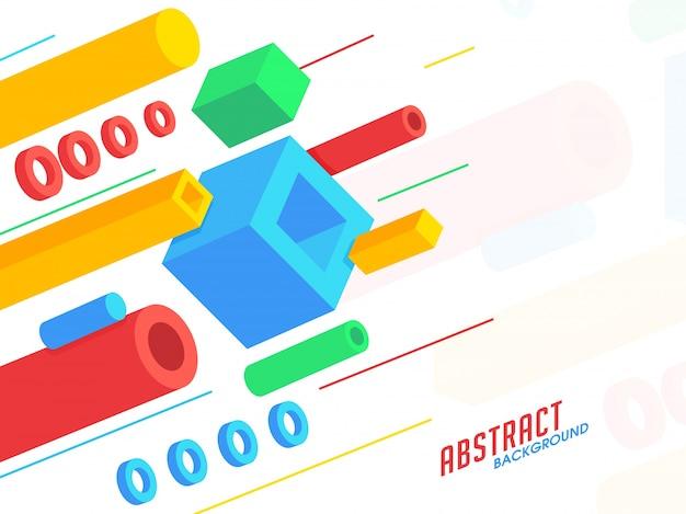 3d kolorowe elementy geometryczne zdobione streszczenie tle.