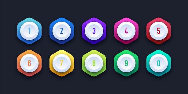 3d kolorowe ikony z numerem punktora