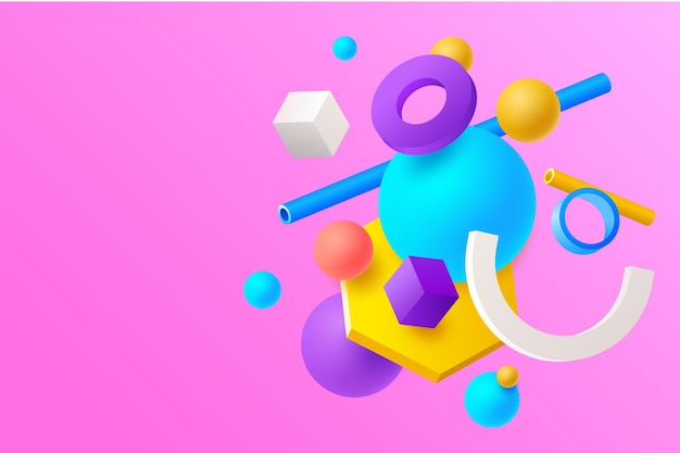 3d kolorowe tło z geometrycznymi kształtami