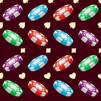 3d kolorowe żetony do pokera i karty pasuje bezszwowe tło wzór.