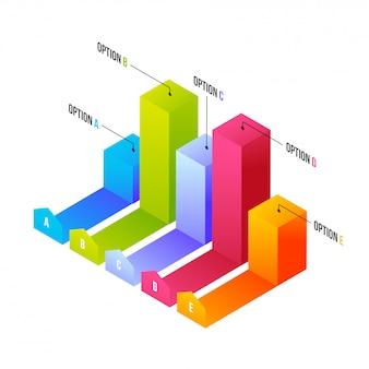 3d kolorowy infochart lub wykres słupkowy