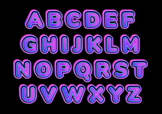 3d kolorowy zestaw alfabetów pinky