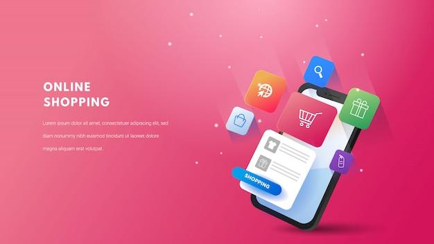 3d koncepcja mobilnych zakupów online. marketing cyfrowy