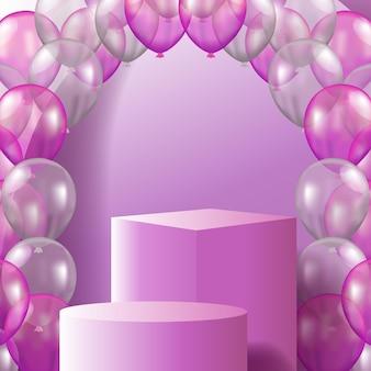 3d kostka i cylinder wyświetlacz produktu na podium na scenie z różowym balonem 3d
