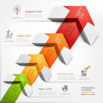 3d krok biznes strzałka schody diagramu.