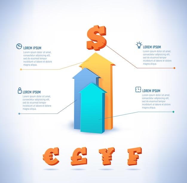 3d krok w górę strzałka schemat schody biznes. ilustracja. może być używany do układu przepływu pracy, banera, opcji liczbowych, opcji przyspieszenia, projektowania stron internetowych, infografik.