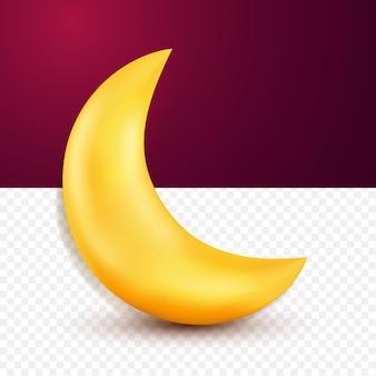 3d ładny żółty księżyc w stylu kreskówki na przezroczystym tle