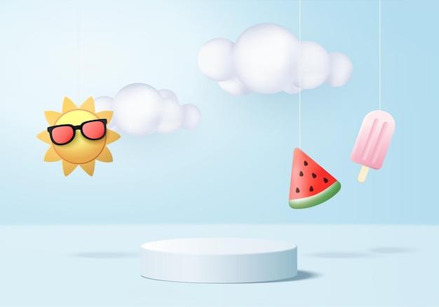3d lato tło wyświetlacz produktu podium scena z chmurą platforma tło lato 3d render ze słońcem lody arbuz na podium stoisko pokaż kosmetyk wyświetlacz niebieski studio
