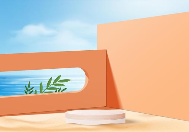 3d letnia scena wyświetlania produktu w tle z chmurą nieba. biały wyświetlacz podium na plaży w morzu