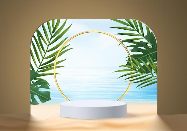 3d letnia scena wyświetlania produktu w tle z liśćmi. biały wyświetlacz podium na plaży w morzu