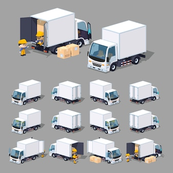 3d lowpoly biała ciężarówka towarowa