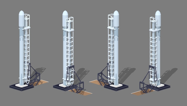 3d lowpoly izometryczna nowoczesna rakieta kosmiczna na platformie startowej