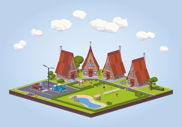 3d lowpoly izometryczny hotel z drewnianymi domkami i terenem rekreacyjnym