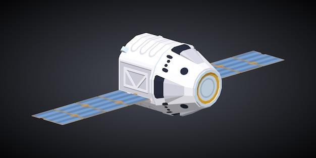 3d lowpoly izometryczny nowoczesny statek kosmiczny wielokrotnego użytku