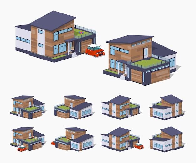 3d lowpoly izometryczny współczesny amerykański dom