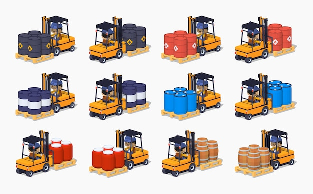 3d lowpoly izometryczny zestaw metalowych, plastikowych i drewnianych beczek na wózkach widłowych