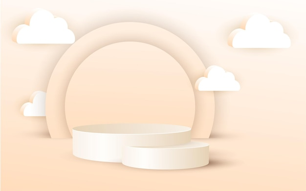 3d luksusowe podium z chmurą