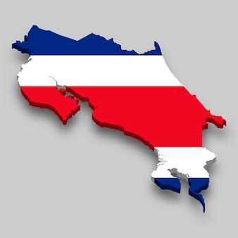 3d mapa kostaryki z flagą narodową.
