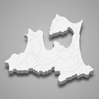 3d mapa prefektury japonii